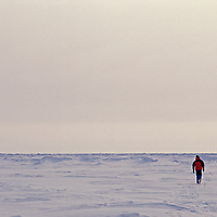 A hiker walks on the frozen Arctic Ocean at the geographic North Pole.