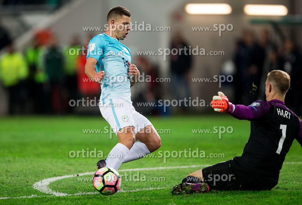 Roman Bezjak of Slovenia vs Joe Hart of England during football match between National teams of Slovenia and England in Round #3 of FIFA World Cup Russia 2018 Qualifier Group F, on October 11, 2016 in SRC Stozice, Ljubljana, Slovenia. Photo by Vid Ponikvar / Sportida
