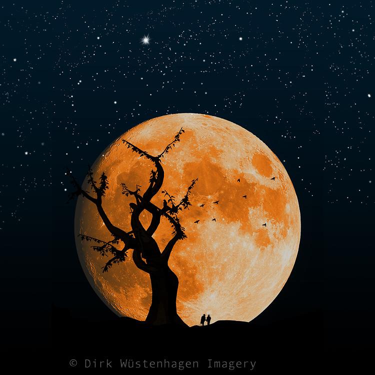 People walking by a large orange moon - composite image<br /> Redbubble : https://www.redbubble.com/shop/ap/60300930?asc=u