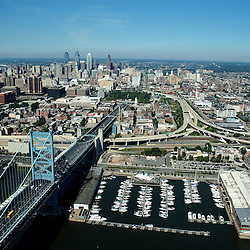 Aerial view of Philadelphia, Pennsylvania view from the Benjamin FRANKLIN BRIDGE
