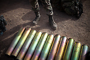Empty artillery shells after a night test firing tanks. French Foreign legion. To organize such war simulation excercises in France would be impossible...North of Djibouti town, in the desert, the French Foreign Legion (the 13th Foreign Legion Demi-Brigade) is practicing shooting with FAMAS rifle in a firing range, as part of an excercice on guerilla war, in an environment very similar to the one encountered, for example, in Afghanistan...The geostrategical and geopolitical importance of the Republic of Djibouti, located on the Horn of Africa, by the Red Sea and the Gulf of Aden, and bordered by Eritrea, Ethiopia and Somalia.