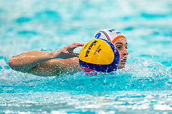 Kjeld Veenhuis of the Netherlands in action against France during the Olympic qualifying tournament. The Dutch water polo players are on the hunt for a starting ticket for the Olympic Games on February 17, 2021 in Rotterdam