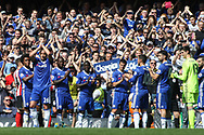 Chelsea players form a guard of honour for Chelsea Captain John Terry (26) as he leaves the field of play substituted in the 26th minute .  Premier league match, Chelsea v Sunderland at Stamford Bridge in London on Sunday 21st May 2017.<br /> pic by Steffan Bowen,  Andrew Orchard sports photography.