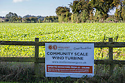 The community energy sign at St Briavels wind turbine, Great Dunkilns Farm, St. Briavels, Lydney. A project of the Resilience centre, Forest of Dean. Gloucestershire.