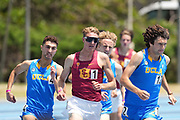 George Gleason of Southern California, center defeats Peter Herold and Munir Kabbara of UCLA to win the 1,500m in 3:46.61 during a dual meet at Drake Stadium, Sunday, May 2, 2021, in Los Angeles. (Kirby Lee via Image of Sport)