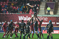 Rugby Union  - 2017 / 2018 European Champions Cup Pool 5. Llanelli Scarlets vs Bath<br /> <br /> Luke Charteris of Bath,  leaps to catch the ball at a lineout,in heavy rain  at Parc Y Scarlets.<br /> <br /> COLORSPORT/WINSTON BYNORTH