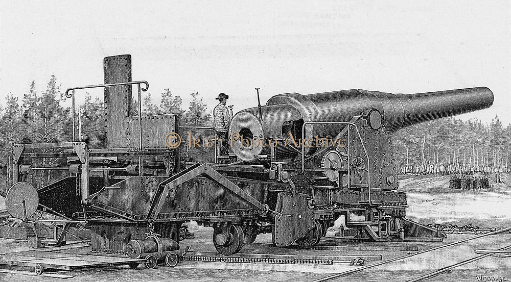 Krupp 71-ton gun of 1881.  Krupp of Essen was the great German armaments manufacturer in the late 19th century.  From 'Harper's New Monthly Magazine', European Edition, 1885.