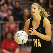 Anna Thompson, New Zealand, in action during the New Zealand V England, New World International Netball Series, at the ILT Velodrome, Invercargill, New Zealand. 6th October 2011. Photo Tim Clayton...