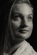 A black and white portrait of Sandra for her modeling portfolio<br /> Dubai based model