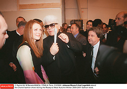 © Rachid A•t M'Bareck/ABACA. 17545-4. Paris, 3/3/2000. Julianne Moore & Karl Lagerfeld attend the Chanel fashion show during the Ready-to-Wear Autumn-Winter 2000-2001 fashion week.
