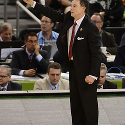 Mar 31, 2012; New Orleans, LA, USA; Louisville Cardinals head coach Rick Pitino reacts during the second half against the Kentucky Wildcats in the semifinals of the 2012 NCAA men's basketball Final Four at the Mercedes-Benz Superdome. Mandatory Credit: Derick E. Hingle-US PRESSWIRE