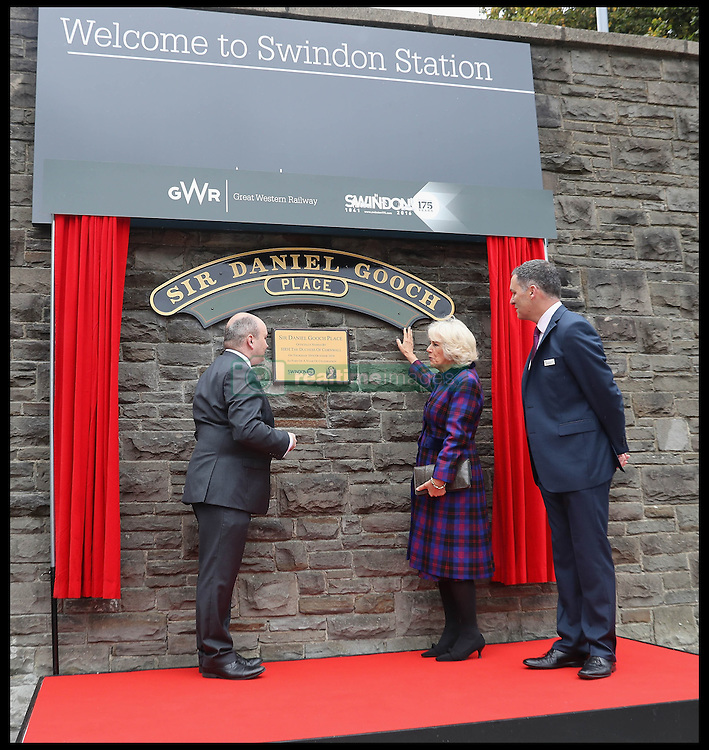 Image ©Licensed to i-Images Picture Agency. 20/10/2016. London, United Kingdom. Duchess of Cornwall visits Swindon Railway. <br /> <br /> Camilla, Duchess of Cornwall visits Swindon Railway Station to name Sir Daniel Gooch Place on October 20, 2016 in Swindon, England.<br /> <br /> <br /> <br /> Picture by  i-Images / Pool