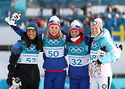 PYEONGCHANG, Feb. 15, 2018  Champion Ragnhild Haga (2nd L) from Norway, second-placed Charlotte Kalla from Sweden (1st L), third-placed Krista Parmakoski from Finland (1st R) and Marit Bjoergen from Norway celebrate during venue ceremony of women's 10KM free event of country skiing at Pyeongchang 2018 Winter Olympic Games at Alpensia Cross-Country Centre, PyeongChang, South Korea, Feb. 15, 2018. (Credit Image: © Bai Xuefei/Xinhua via ZUMA Wire)