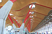 Modern architecture ceiling interior of terminal 4 building, Adolfo Suárez Madrid–Barajas airport, Madrid, Spain