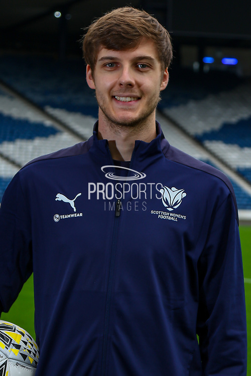 Scottish Womens Football has today agreed a new partnership with Edinburgh based Kit and Apparel Supplier Football Nation.<br /> <br /> The Partnership will see Scottish Women's Football Staff & Volunteers wearing matching kit supplied by Football Nation.<br /> <br /> Scottish Womens Football Club & Competition Officer Liam McNally proudly displays the new Tracksuit from FN Teamwear.<br /> <br /> , 12/10/2021, The National Stadium, Hampden Park, Scotland.
