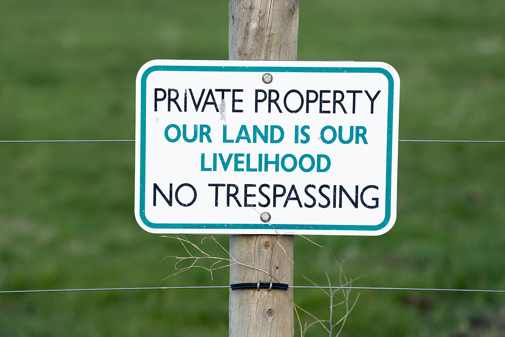 Private property - no tresspassing sign in Oregon's Wallowa Valley.