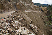 The Interoceanic highway runs below gigantic terraces to try to control rock fall. Sometimes these terraces extend many 100s of meters up the mountain.