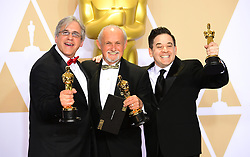 Mark Weingarten, Gregg Landaker and Gary A. Rizzo with their oscar for Best Sound Mixing for Dunkirk in the press room at the 90th Academy Awards held at the Dolby Theatre in Hollywood, Los Angeles, USA.PRESS ASSOCIATION Photo. Picture date: Sunday March 4, 2018. See PA Story SHOWBIZ Oscars. Photo credit should read: Ian West/PA Wire