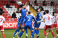 Carlisle United defender Rhys Bennett (32) and Stevenage forward Luke Norris (36) challenges for a header during the EFL Sky Bet League 2 match between Stevenage and Carlisle United at the Lamex Stadium, Stevenage, England on 20 March 2021.