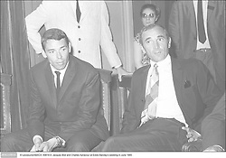 © Lecoeuvre/ABACA. 49814-9. Jacques Brel and Charles Aznavour at Eddie Barclay's wedding in June 1965 .