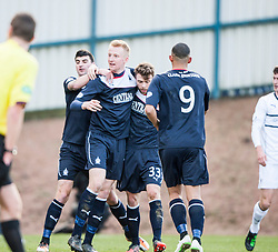 Falkirk's players cele Raith Rovers Dougie Hill own goal.<br /> Half time : Raith Rovers 2 v 1 Falkirk, Scottish Championship game today at Starks Park.<br /> © Michael Schofield.