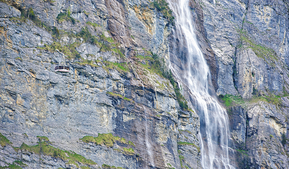 Switzerland - Cableway in front of Murrenbach Falls