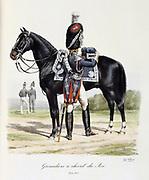 Royal Mounted  Black Grenadier,  1814-1815. From 'Histoire de la maison militaire du Roi de 1814 a 1830' by Eugene Titeux, Paris, 1890.