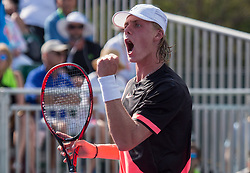 March 26, 2018 - Miami, Florida, United States - Denis Shapovalov, from Canada, reacting after winning an important point against Sam Querrey, from the USA, during their third round match at the Miami Open in Key Biscayne in Key Biscayne, on March 26, 2018. (Credit Image: © Manuel Mazzanti/NurPhoto via ZUMA Press)