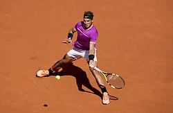 MADRID, May 14, 2017  Rafael Nadal of Spain returns the ball during the men's singles semifinal match against Novac Djokovic of Serbia at the Mutua Madrid Open in Madrid, Spain, May 13, 2017. Rafael Nadal 2-0. (Credit Image: © Eduardo Deguez/Xinhua News/Xinhua via ZUMA Wire)