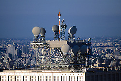 Microwave Dishes On Top Of Buildings