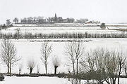 Nederland, Ubbergen, 13-1-2017De eerste sneeuw van deze winter is gevallen bij Nijmegen. Zicht op Persingen in de OoijpolderFoto: Flip Franssen