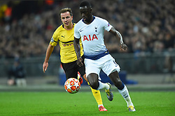 February 13, 2019 - London, England, United Kingdom - Tottenham defender Davinson Sanchez is watched by Mario Gotze during the UEFA Champions League match between Tottenham Hotspur and Ballspielverein Borussia 09 e.V. Dortmund at Wembley Stadium, London on Wednesday 13th February 2019. (Credit: Jon Bromley | MI News & Sport Ltd) (Credit Image: © Mi News/NurPhoto via ZUMA Press)