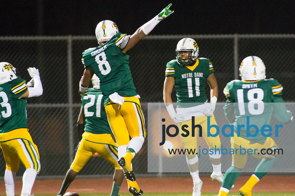Notre Dame's Vince Shalow, Jaden Gardner, Lawrence Mai, Wesley Smith during the CIF-SS Boys Football Northwest Division Semifinal at J.W. North High School on Friday, November 27, 2015 in Riverside, California. (Photo/Josh Barber)