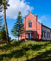 KYAING TONG, MYANMAR - CIRCA DECEMBER 2017:  Church in the Sister of Charity Sacred Heart Convent at the Loi Mwe Hill Station. Shan State around Kyaing Tong in Myanmar.