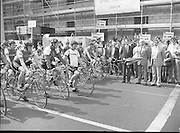 Calor/Kosangas Pro-Am Cycle Race.   (P85)..1984..01.05.1984..05.01.1984..1st May 1984..The Calor/Kosangas Pro-Am tour of Ireland cycle race set off from the G.P.O.in Dublin today...Pictured at the start of the cycle race, officials from the sponsors Calor/Kosangas prepare for the off.
