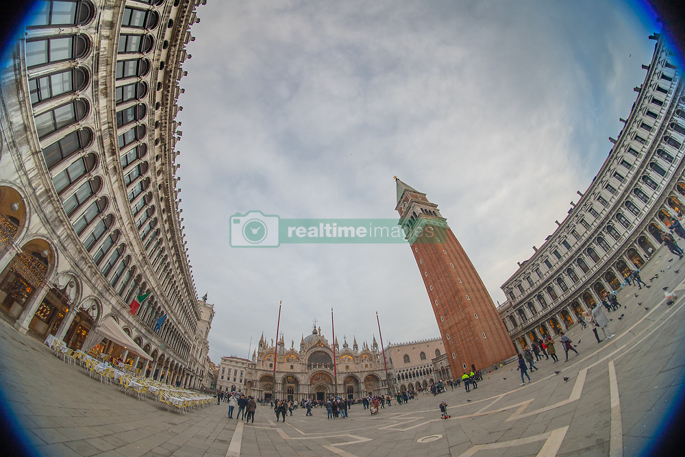 A fisheye view of St Mark's Campanile and St Mark's Square in Venice. From a series of travel photos in Italy. Photo date: Monday, February 11, 2019. Photo credit should read: Richard Gray/EMPICS