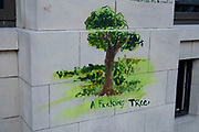 Strange street art of a tree on 10th August 2021 in London, United Kingdom.