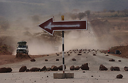 Namaga, Kenya, September 29, 2003: A road is  widened near the Ngornogoro Crater in Tanzania September 29, 20003 presumably to bring in more tourists. (Photo by Ami Vitale)