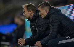 Cheftræner Morten Eskesen og assistenttræner Mikkel Thygesen (FC Helsingør) under kampen i 1. Division mellem FC Helsingør og Silkeborg IF den 11. september 2020 på Helsingør Stadion (Foto: Claus Birch).