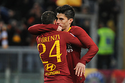 December 26, 2018 - Rome, Italy - Diego Perotti of Roma celebrates with Alessandro Florenzi after his scores the penalty of 1-0 during the Serie A match between Roma and Sassuolo at Stadio Olimpico, Rome, Italy on 26 December 2018. (Credit Image: © Federica Roselli/NurPhoto via ZUMA Press)