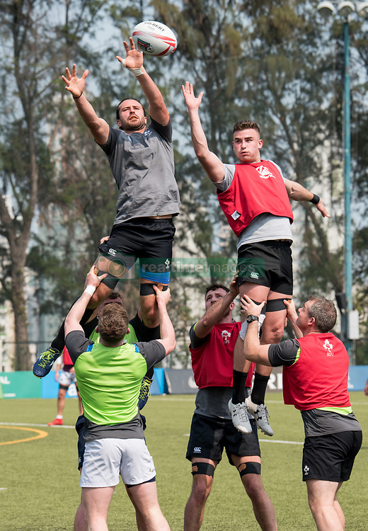 April 2, 2018 - Hong Kong, Hong Kong SAR, CHINA - HONG KONG,HONG KONG SAR,CHINA:April 2nd 2018. The Irish rugby team conduct a training session at Kings Park ahead of their Hong Kong Rugby 7's qualifiers.Harry McNulty (L) reaches the ball in the line out (Credit Image: © Jayne Russell via ZUMA Wire)