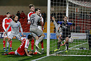 Goal scored by John Marquis of Portsmouth, 0-2, during the The FA Cup match between Fleetwood Town and Portsmouth at the Highbury Stadium, Fleetwood, England on 4 January 2020.