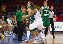 Goran Dragic of Slovenia vs Leandro Barbosa of Brasil during  the Preliminary Round - Group B basketball match between National teams of Slovenia and Brasil at 2010 FIBA World Championships on September 1, 2010 at Abdi Ipekci Arena in Istanbul, Turkey. (Photo By Vid Ponikvar / Sportida.com)
