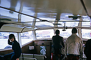View from cabin of tour boat approaching Marken, Netherlands, 1973