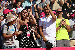 May 6, 2018 - Estoril, Portugal - Joao Sousa Coach Frederico Marques (2nd R) and Joao Sousa Girlfriend celebrate his victory in the Millennium Estoril Open ATP 250 tennis tournament final against Frances Tiafoe of US, at the Clube de Tenis do Estoril in Estoril, Portugal on May 6, 2018. (Joao Sousa won 2-0) (Credit Image: © Pedro Fiuza/NurPhoto via ZUMA Press)