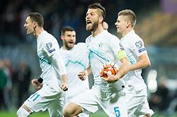 Bostjan Cesar of Slovenia celebrates after scoring first goal for Slovenia during the UEFA EURO 2016 Play-off for Final Tournament, Second leg between Slovenia and Ukraine, on November 17, 2015 in Stadium Ljudski vrt, Maribor, Slovenia. Photo by Vid Ponikvar / Sportida