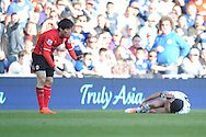 Cardiff City's Kim Bo-Kyung looks on as Fulham's Giorgos Karagounis is on ground injured during the Barclays Premier league, Cardiff city v Fulham at the Cardiff city Stadium in Cardiff , South Wales on Sat 8th March 2014. pic by Jeff Thomas/Andrew Orchard sports photography