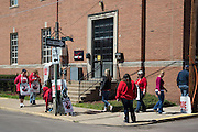 Members of CWA Local 13500 picket outside of the Verizon building at Third and Center Streets in Bloomsburg, Pennsylvania.