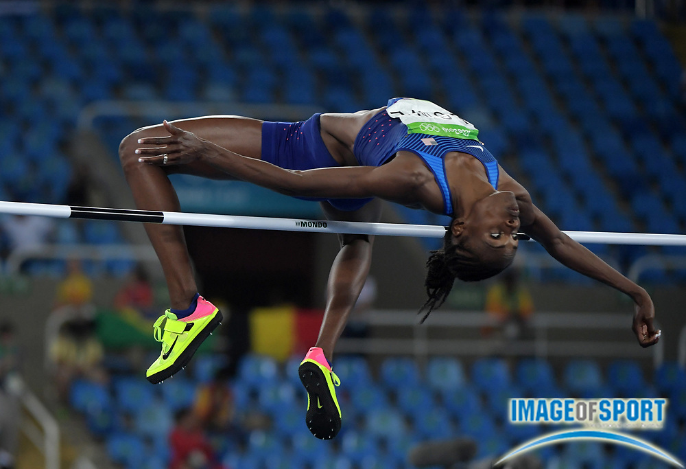 Aug 20, 2016; Rio de Janeiro, Brazil; Chaunte Lowe (USA) places fourth in the women's high jump at 6-5½ (1.97m) during the 2016 Rio Olympics at Estadio Olimpico Joao Havelange. <br /> <br /> *
