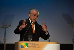 May 30, 2017 - Sao Paulo, Sao Paulo, Brazil - Brazilian President MICHEL TEMER participates in the Brazil Investment Forum, at the Grand Hyatt Hotel, in the south region of Sao Paulo (SP), on Tuesday (30). The forum is an initiative of the Federal Government, IDB - Inter-American Development Bank and APEX - Brazilian Agency that promotes exports and investments in Brazil. (Credit Image: © Paulo Lopes via ZUMA Wire)